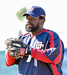 18 March 2007: Washington Nationals first baseman Dmitri Young warms up prior to facing the Florida Marlins at Space Coast Stadium in Viera, Florida...Mandatory Photo Credit: Ed Wolfstein Photo