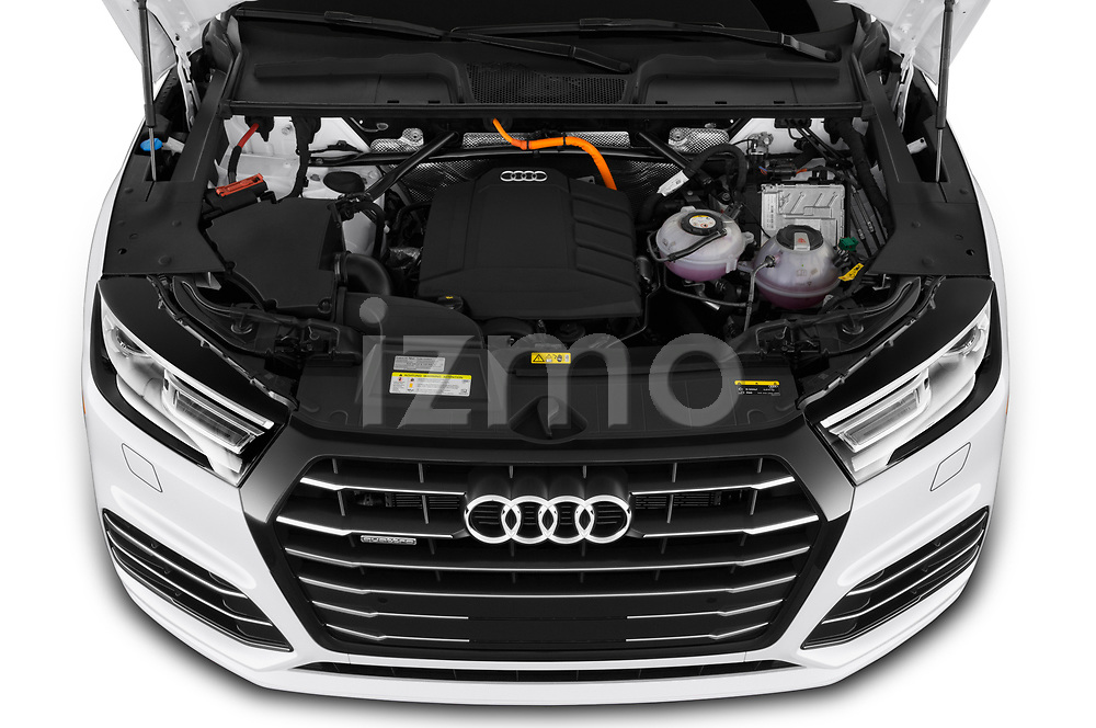 Car stock 2020 Audi Q5 Premium 5 Door SUV engine high angle detail view