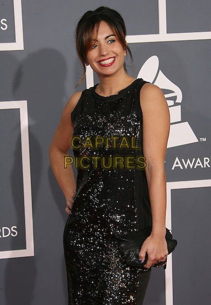 Michael Salgado.The 54th Annual GRAMMY Awards held at the Staples Center, Los Angeles, California, USA..February 12th, 2012.half length black sequins sequined sleeveless dress.CAP/ADM.©AdMedia/Capital Pictures.