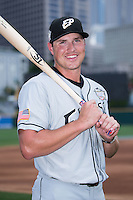 El Paso Chihuahuas outfielder Hunter Renfroe (10) poses for a photo during Media Day for the 2016 Triple-A All-Star Game at BB&T BallPark on July 12, 2016 in Charlotte, North Carolina.   (Brian Westerholt/Four Seam Images)