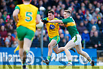 Jason Foley Kerry in action against Paul Brennan Donegal in the Allianz Football League Division 1 Round 1 match between Kerry and Donegal at Fitzgerald Stadium in Killarney, Co. Kerry.