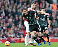 Burnley's Chris Wood turns away from Arsenal's Sokratis Papastathopoulos<br /> <br /> Photographer David Shipman/CameraSport<br /> <br /> The Premier League - Arsenal v Burnley - Saturday 22nd December 2018 - The Emirates - London<br /> <br /> World Copyright © 2018 CameraSport. All rights reserved. 43 Linden Ave. Countesthorpe. Leicester. England. LE8 5PG - Tel: +44 (0) 116 277 4147 - admin@camerasport.com - www.camerasport.com