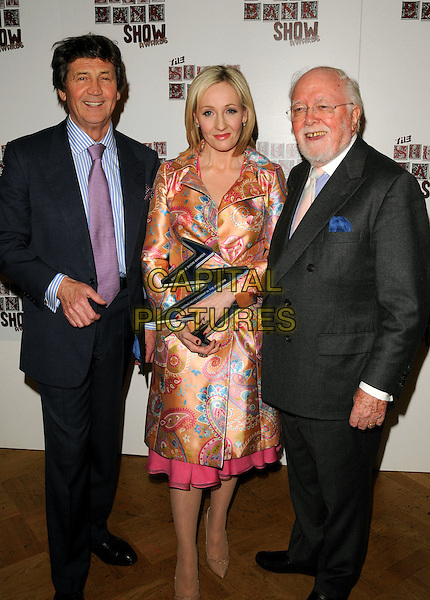 MELVIN BRAGG, JK ROWLING & SIR DAVID ATTENBOROUGH.The South Bank Show Awards, The Dorchester Hotel, London, England..January 29th, 2008.full  length satin silk peach pink beige paisley satin silk jacket coat dress award trophy cream pattern print black grey gray suit goatee facial hair glasses .CAP/CAN.©Can Nguyen/Capital Pictures