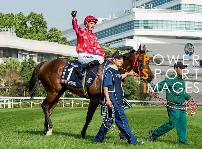 Jockey Nash Rawiller riding Mr Stunning wins in the Longines Hong Kong Sprint (G1, 1200m) during the Longines Hong Kong International Races at Sha Tin Racecourse on December 10 2017, in Hong Kong, Hong Kong. Photo by Victor Fraile / Power Sport Images