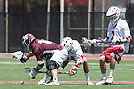 Orange, CA 05/01/10 - Kelcey Fisher (LMU # 16), Chris Small (Chapman # 9) and Andrew Nordstrom (Chapman # 2) in action during the LMU-Chapman MCLA SLC semi-final game in Wilson Field at Chapman University.  Chapman advanced to the final by defeating LMU 19-10.