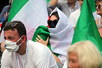 Italian center-right supporters with tricolor masks and flags during the demonstration of the center-right parties at Piazza del Popolo, Together for the Italy of work. Rome (Italy), July 4th 2020<br /> Foto Insidefoto