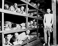 Germany, April 16, 1945.Title: These are slave laborers in the Buchenwald concentration camp near Jena; many had died from malnutrition when U.S. troops of the 80th Division entered the camp. Germany, April 16, 1945.