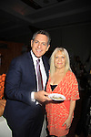 "One Life To Live Ilene Kristen ""Roxy"" poses with WABC-TV Bill Ritter (host for the evening) try the Cocoa Pumpkins Ravioli with toasted pumpkin seeds as they attend the 19th Annual Feast benefitting the Center for Hearing and Communication - Connect to Life on October 22, 2012 at Chelsea Pier 60, New York City, New York.  (Photo by Sue Coflin/Max Photos)"