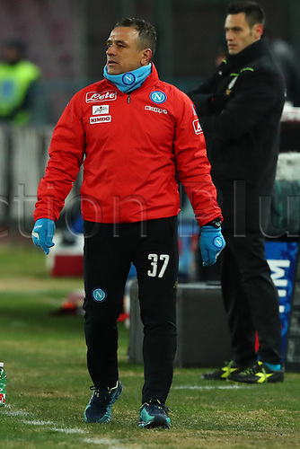 10.01.2017. Stadio San Paolo, Naples, Italy. Coppa Italia Round of 16, Napoli versus Spezia. Francesco Calzona, Napoli assistant coach, paces the touchline during the game. Napoli won the game 3-1.