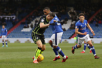 Bristol Rovers' Billy Bodin (left) and Oldham Athletic's Gevaro Nepomuceno (right) during the Sky Bet League 1 match between Oldham Athletic and Bristol Rovers at Boundary Park, Oldham, England on 30 December 2017. Photo by Juel Miah / PRiME Media Images.