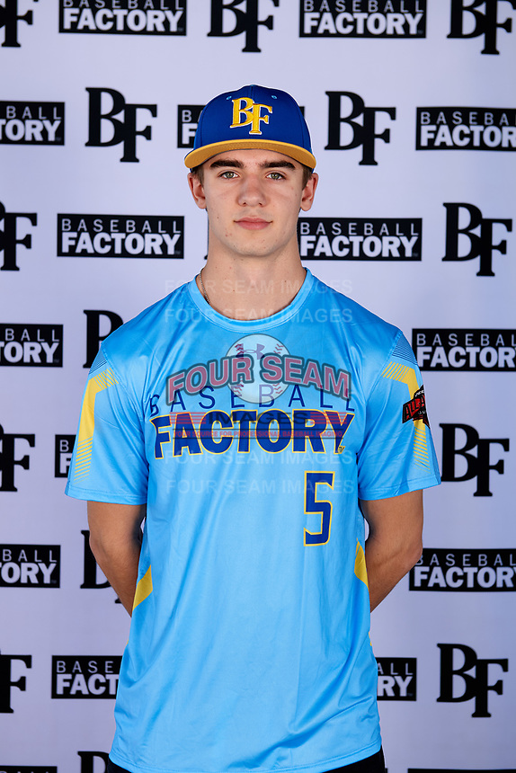 Corey Hall (5) of Champaign Centennial High School in Champaign, Illinois during the Baseball Factory All-America Pre-Season Tournament, powered by Under Armour, on January 12, 2018 at Sloan Park Complex in Mesa, Arizona.  (Mike Janes/Four Seam Images)