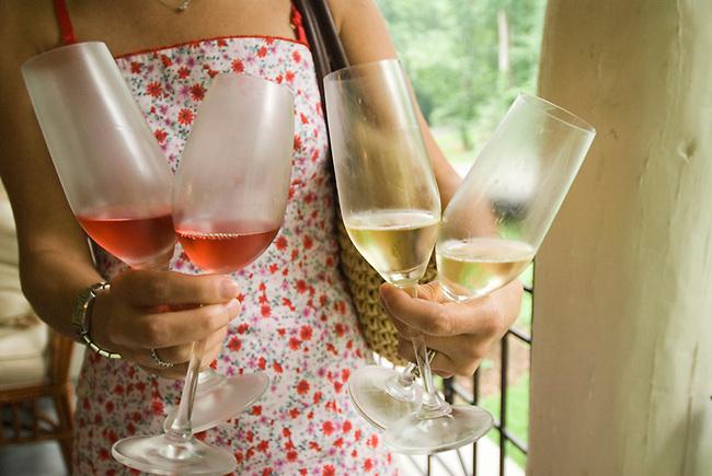 Glasses of sparkling wine at Kluge Estate, Charlottesville, virginia