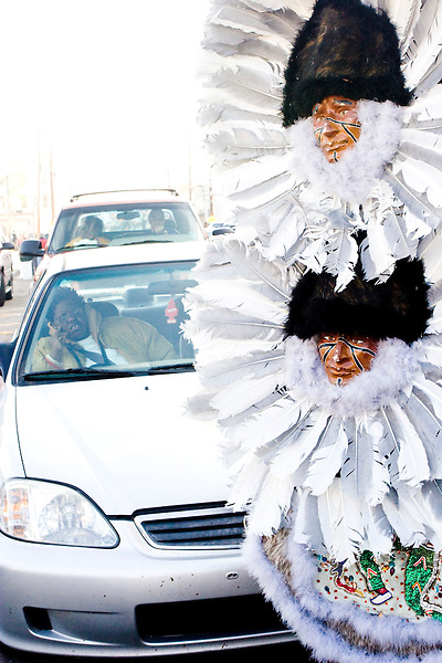 The Golden Comanches Mardi Gras Indians parade in the Treme neighborhood of New Orleans on February 28, 2006.