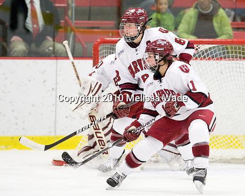 Kathryn Farni (Harvard - 8), Deborah Conway (Harvard - 11) - The Harvard University Crimson defeated the Northeastern University Huskies 1-0 to win the 2010 Beanpot on Tuesday, February 9, 2010, at the Bright Hockey Center in Cambridge, Massachusetts.