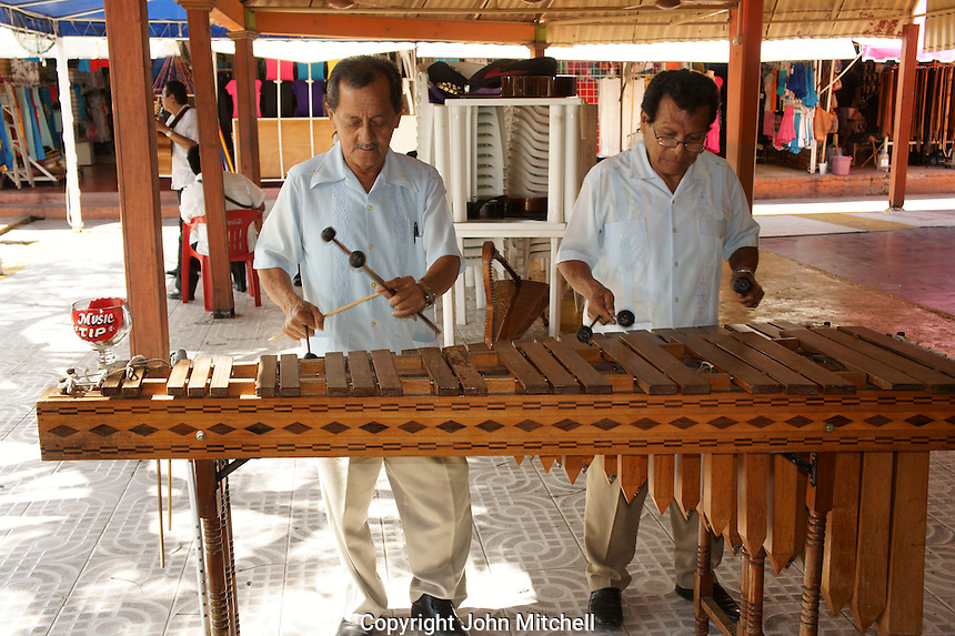 Marimba players in Mercado 28 souvenirs and handicrafts market in  Cancun, Mexico      .   .