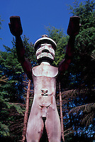 Totem Pole at Museum of Anthropology, University of British Columbia (UBC), Vancouver, BC, British Columbia, Canada - Nuu-chah-nulth Welcome Figure