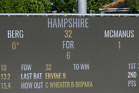 The scoreboard shows that Hampshire have been reduced to 32 for 6 during Essex CCC vs Hampshire CCC, Specsavers County Championship Division 1 Cricket at The Cloudfm County Ground on 20th May 2017