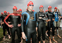 09 JUN 2007 - TREDEGAR, UK - Mark Bruce waits for the start of the National Elite Mens Triathlon Championships which were held as part of the second round of the Corus Elite Triathlon Series. (PHOTO (C) NIGEL FARROW)