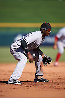 Scottsdale Scorpions Miguel Andujar (18), of the New York Yankees organization, during a game against the Mesa Solar Sox on October 21, 2016 at Sloan Park in Mesa, Arizona.  Mesa defeated Scottsdale 4-3.  (Mike Janes/Four Seam Images)