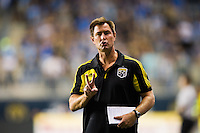 Columbus Crew assistant coach Mike Lapper. The Columbus Crew defeated the Philadelphia Union 2-1 during a Major League Soccer (MLS) match at PPL Park in Chester, PA, on August 29, 2012.
