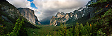 USA, California, Yosemite National Park, landscape of Yosemite Valley, Yosemite Falls and El Capitan