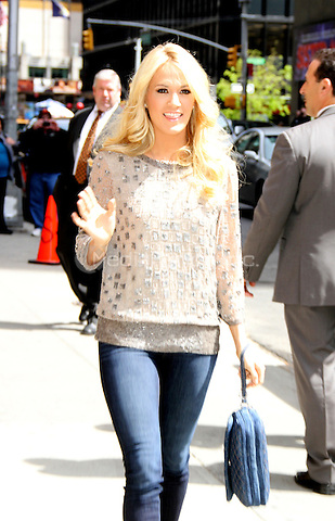 April 30, 2012: Carrie Underwood arrives at Late Show with David Letterman to promote her new CD Blown Away. New York City. Credit: RW/MediaPunch Inc.