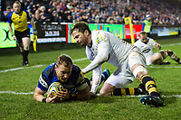 Jack Wilson of Bath Rugby scores a try in the first half. Aviva Premiership match, between Bath Rugby and Wasps on December 29, 2017 at the Recreation Ground in Bath, England. Photo by: Patrick Khachfe / Onside Images