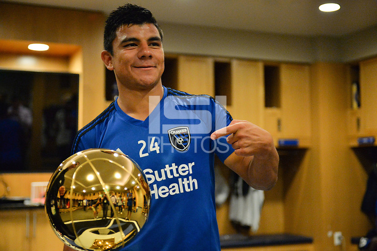 San Jose, CA - Monday July 10, 2017: Nick Lima, NBA Trophy prior to a U.S. Open Cup quarterfinal match between the San Jose Earthquakes and the Los Angeles Galaxy at Avaya Stadium.
