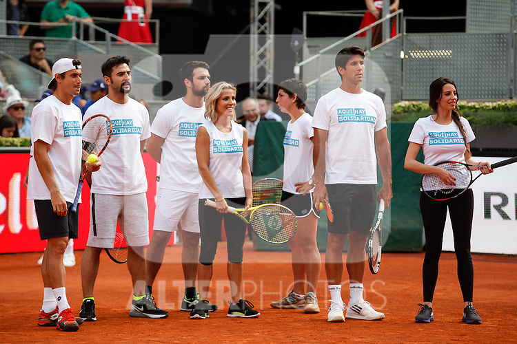Ferrer, Antonio Velazquez, Jesus Castro, Elsa Pataki, Verdasco and Almudena Cid during Mutua Madrid Open `Charity Day´ at Caja Magica in Madrid, Spain. May 01, 2015. (ALTERPHOTOS/Victor Blanco)