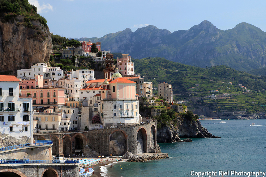 Amalfi is a popular tourist destination together with other towns on the same coast, such as Positano and Ravello.  Amalfi is included in the UNESCO World Heritage Sites.