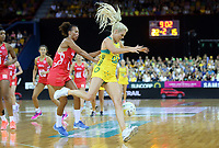 02.08.2017 Australia's Gretel Tippett in action during a netball match between Australia and England at the Brisbane Entertainment Centre in Brisbane Australia. Mandatory Photo Credit ©Michael Bradley.