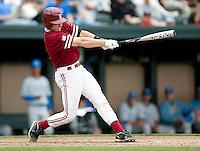 STANFORD, CA - April 23, 2011: Zach Jones of Stanford baseball hits during Stanford's game against UCLA at Sunken Diamond. Stanford won 5-4.