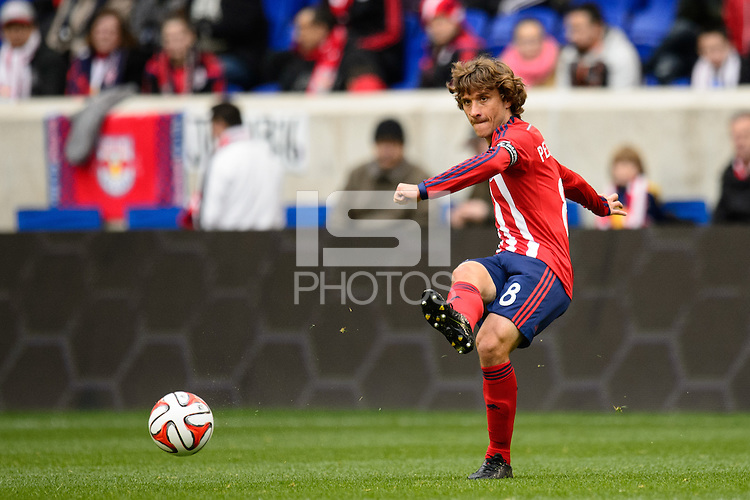 Agustin Pelletieri (8) of Chivas USA. The New York Red Bulls and Chivas USA played to a 1-1 tie during a Major League Soccer (MLS) match at Red Bull Arena in Harrison, NJ, on March 30, 2014.