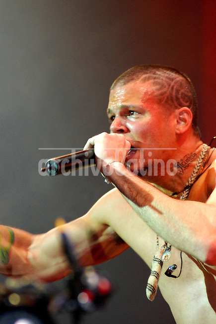 Rene Perez (The Resident) singer of the hip hop group Calle 13 of Puerto Rico during a presentation in Buenos Aires, Argentina