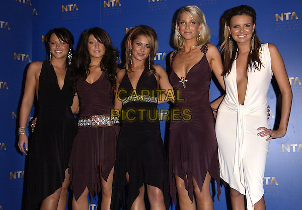 GIRLS ALOUD.KIMBERLEY WALSH, NICOLA ROBERTS, CHERYL TWEEDY, SARAH HARDING & NADINE COYLE.10th Anniversary National Television Awards, Royal Albert Hall, London, October 26th 2004..half length.Ref: FIN.www.capitalpictures.com.sales@capitalpictures.com.©Steve Finn/Capital Pictures .