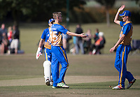 W Frost of Upminster celebrates his wicket during Upminster CC vs Essex CCC, Benefit Match Cricket at Upminster Park on 8th September 2019