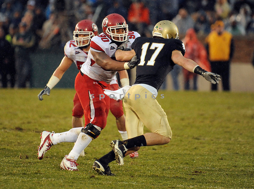 DERRICK SHELBY, of theUtah Utes, in action during the Utah game against the Notre Dame Fighting Irish on November 13, 2010 at Notre Dame Stadium in South Bend, Indiana. ..Notre Dame beat Utah 28-3...SportPics