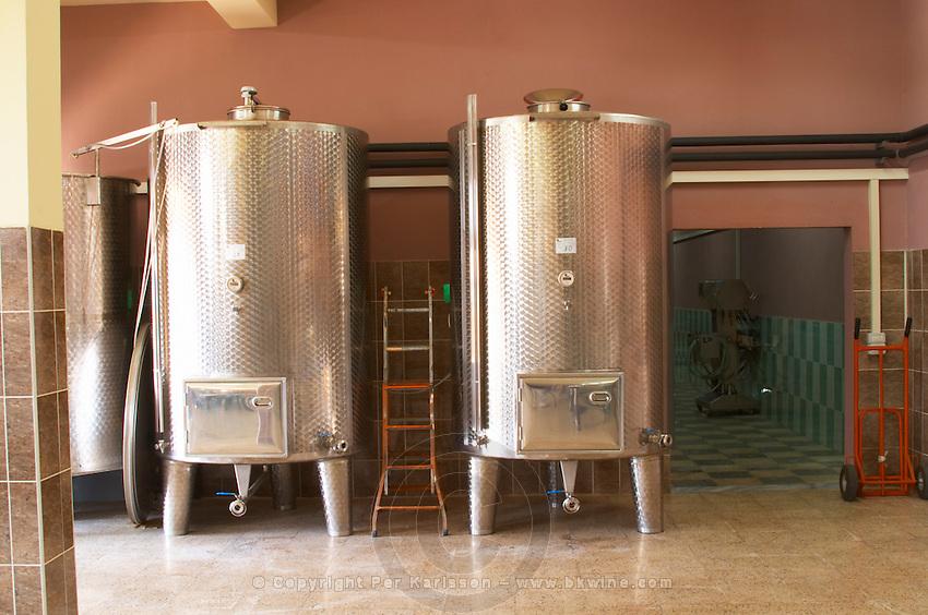 Stainless steel fermentation and storage tanks. Kantina Miqesia or Medaur winery, Koplik. Albania, Balkan, Europe.