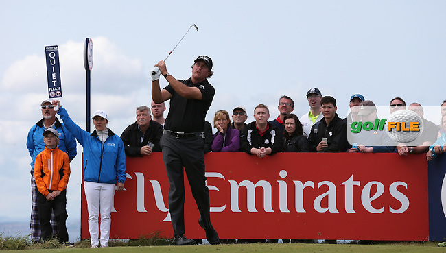 Phil Mickelson (USA) plays from the 16th during Round Three of the 2015 Aberdeen Asset Management Scottish Open, played at Gullane Golf Club, Gullane, East Lothian, Scotland. /11/07/2015/. Picture: Golffile | David Lloyd<br /> <br /> All photos usage must carry mandatory copyright credit (&copy; Golffile | David Lloyd)