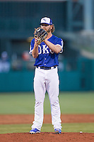 Oklahoma City Dodgers pitcher Rudy Owens (19) prepares to pitch against the Nashville Sounds at Chickasaw Bricktown Ballpark on April 15, 2015 in Oklahoma City, Oklahoma. Oklahoma City won 6-5. (William Purnell/Four Seam Images)