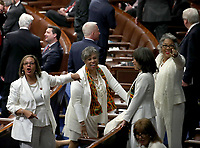 Democratic Women members point to the gallery where their guests are seated prior to United States President Donald J. Trump delivering his second annual State of the Union Address to a joint session of the US Congress in the US Capitol in Washington, DC on Tuesday, February 5, 2019.<br /> CAP/MPI/RS<br /> ©RS/MPI/Capital Pictures