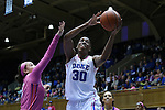 08 February 2015: Duke's Amber Henson (30) shoots over Clemson's Alexis Carter (left). The Duke University Blue Devils hosted the Clemson University Tigers at Cameron Indoor Stadium in Durham, North Carolina in a 2014-15 NCAA Division I Women's Basketball game. Duke won the game 89-60.
