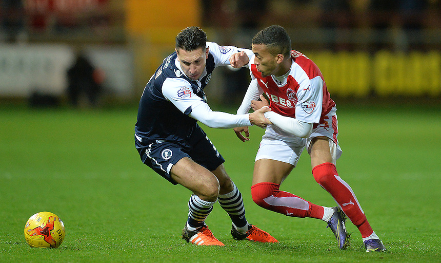 Fleetwood Town's David Henen battles with Millwall's Joe Martin<br /> <br /> Photographer Dave Howarth/CameraSport<br /> <br /> Football - The Football League Sky Bet League One - Fleetwood Town v Millwall - Tuesday 24th November 2015 - Highbury Stadium<br /> <br /> &copy; CameraSport - 43 Linden Ave. Countesthorpe. Leicester. England. LE8 5PG - Tel: +44 (0) 116 277 4147 - admin@camerasport.com - www.camerasport.com