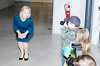 Democratic presidential candidate Senator Kirsten Gillibrand (D-NY) poses for children to take her picture before speaking at a town hall campaign event at the Concord Parks and Recreation Community Center in Concord, New Hampshire, USA on Sat., Apr. 6, 2019.