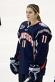 Jaclyn Camardo (UConn - 11) - The University of Connecticut Huskies defeated the Northeastern University Huskies 4-1 in Hockey East quarterfinal play on Saturday, February 27, 2010, at Matthews Arena in Boston, Massachusetts.