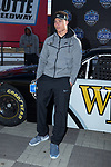 Wake Forest Demon Deacons linebacker Nate Mays poses for a photo in front of a NASCAR race car in Victory Circle at the Charlotte Motor Speedway on December 26, 2017 in Concord, North Carolina.  (Brian Westerholt/Sports On Film)