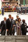 King Felipe VI of Spain and Queen Letizia during the Cervantes Literature Prize ceremony at the University of Alcala in Madrid on April 23, 2019. (ALTERPHOTOS/Alconada).