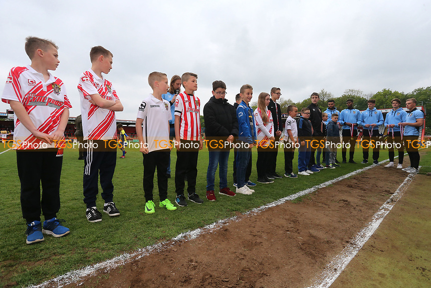 Young supporters presented with medals during Stevenage vs Accrington Stanley, Sky Bet EFL League 2 Football at the Lamex Stadium on 6th May 2017