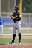 Pittsburgh Pirates relief pitcher Braham Rosario (2) looks in for the sign during a Florida Instructional League game against the Toronto Blue Jays on September 20, 2018 at the Englebert Complex in Dunedin, Florida.  (Mike Janes/Four Seam Images)
