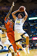 Morgantown, WV - NOV 18, 2017: West Virginia Mountaineers forward Teddy Allen (13) goes up for a basket against Morgan State Bears forward Phillip Carr (22) during game between West Virginia and Morgan State at WVU Coliseum Morgantown, West Virginia. (Photo by Phil Peters/Media Images International)